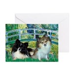 Bridge / 2 Pomeranians Greeting Cards (Pk of 10)