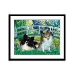 Bridge / 2 Pomeranians Framed Panel Print