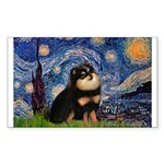 Starry Night / Pomeranian(b&t) Sticker (Rectangle)