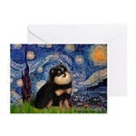 Starry Night / Pomeranian(b&t) Greeting Cards (Pk