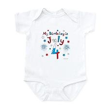 July 4th Birthday Red, White, Blue Infant Bodysuit