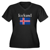 Iceland Flag Women's Plus Size V-Neck Dark T-Shirt
