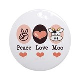 Peace Love Moo Cow Ornament (Round)