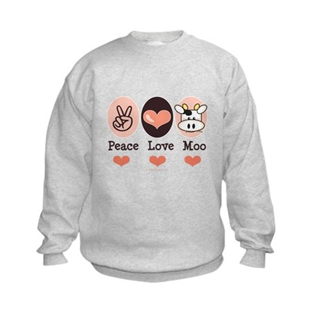 Peace Love Moo Cow Kids Sweatshirt