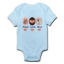 Peace Love Moo Cow Infant Bodysuit