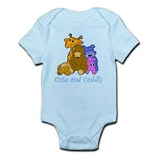 Cute and Cuddly Animals Blue Infant Bodysuit