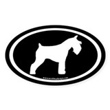 Miniature Schnauzer (white on blk) Oval Decal