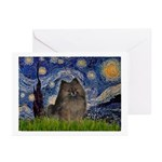 Starry Night /Pomeranian(bndl ) Greeting Cards (Pk