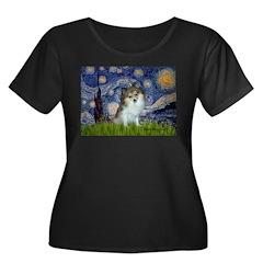Starry Night /Pomeranian (p) Women's Plus Size Sco