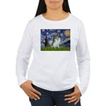 Starry Night /Pomeranian (p) Women's Long Sleeve T