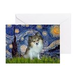 Starry Night /Pomeranian (p) Greeting Cards (Pk of
