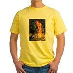 Fairies / Pomeranian (b&t) Yellow T-Shirt
