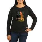 Fairies / Pomeranian (b&t) Women's Long Sleeve Dar