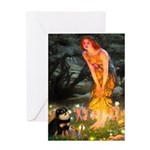 Fairies / Pomeranian (b&t) Greeting Card