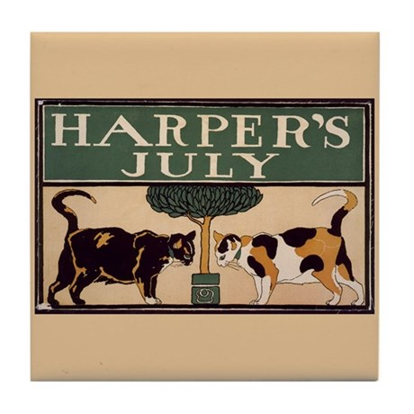 Harper's July 1898 Ad Cats Art Tile Coaster