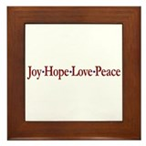 Joy Hope Love Peace Framed Tile