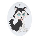 Baby Husky Oval Ornament