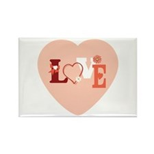 Love & Flower Valentine Rectangle Magnet (100 pack