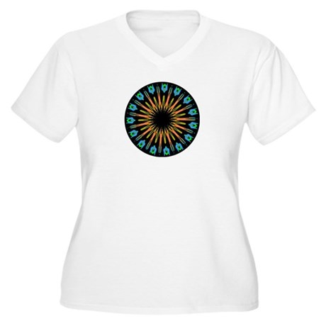 Kaleidoscope 003 Women's Plus Size V-Neck T-Shirt