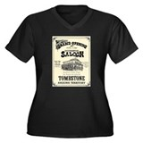 Occidental Saloon Women's Plus Size V-Neck Dark T-