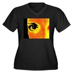 Dynomoose Women's Plus Size V-Neck Dark T-Shirt
