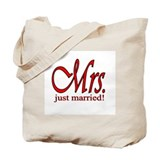 His & Her Just Married Tote Bag