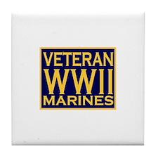 MARINES VETERAN WW II Tile Coaster