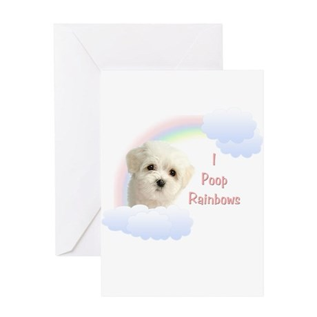 I Poop Rainbows Puppy Greeting Card
