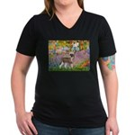 Garden / Chinese Crested Women's V-Neck Dark T-Shi