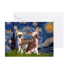 Starry Night / 2Chinese Crest Greeting Cards (Pk o