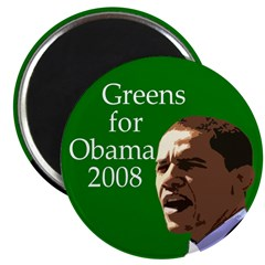 Greens for Obama Fridge Magnet