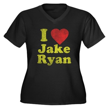 I Love Jake Ryan Womens Plus Size V-Neck Dark T-S