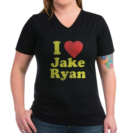 I Love Jake Ryan Womens V-Neck T-Shirt