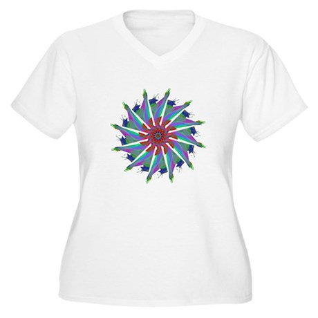 Kaleidoscope 0006 Women's Plus Size V-Neck T-Shirt