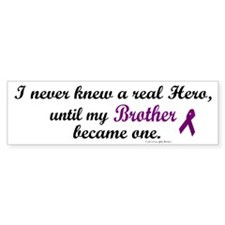Never Knew A Hero BROTHER (Purple) Bumper Sticker