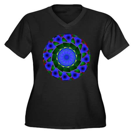Kaleidoscope 0001 Women's Plus Size V-Neck Dark T-
