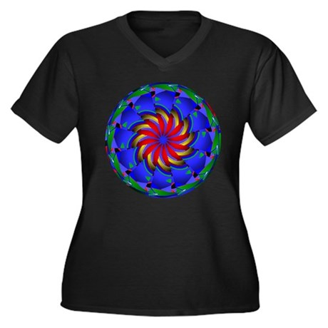 Kaleidoscope 0002 Women's Plus Size V-Neck Dark T-