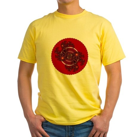 Fractal Kaleidoscope Red Yellow T-Shirt