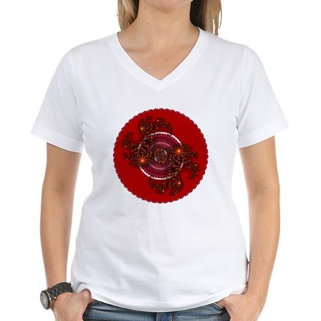 Fractal Kaleidoscope Red Women's V-Neck T-Shirt