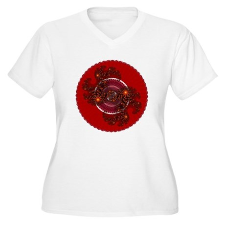 Fractal Kaleidoscope Red Women's Plus Size V-Neck