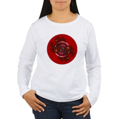 Fractal Kaleidoscope Red Women's Long Sleeve T-Shi