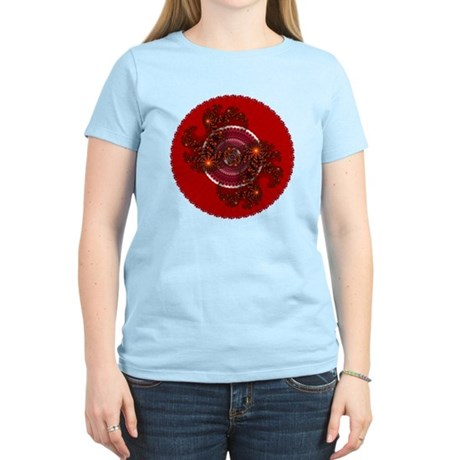 Fractal Kaleidoscope Red Women's Light T-Shirt