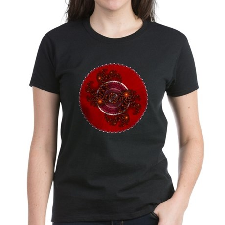 Fractal Kaleidoscope Red Women's Dark T-Shirt