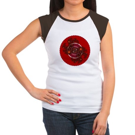 Fractal Kaleidoscope Red Women's Cap Sleeve T-Shir