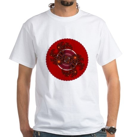 Fractal Kaleidoscope Red White T-Shirt
