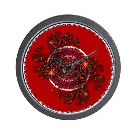Fractal Kaleidoscope Red Wall Clock