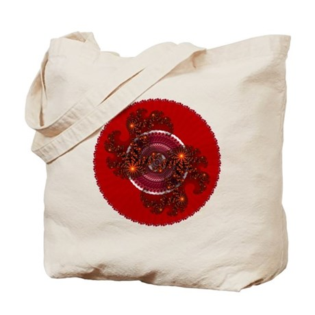 Fractal Kaleidoscope Red Tote Bag