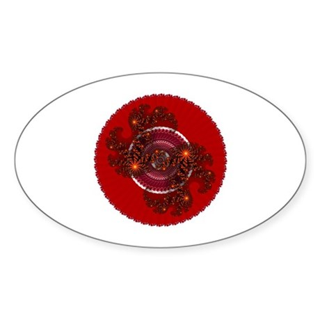 Fractal Kaleidoscope Red Oval Sticker