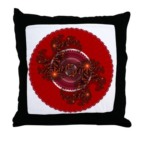 Fractal Kaleidoscope Red Throw Pillow