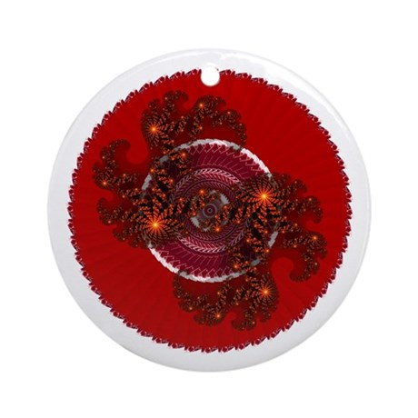 Fractal Kaleidoscope Red Ornament (Round)